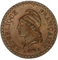 Франция 1 сантим 1848 г. А, XF-UNC