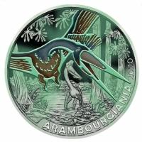 """Австрия 3 евро 2020 г., BU, """"Супер динозавры - Арамбургиана /Arambourgiania/"""""""
