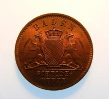 Баден 1 крейцер 1860 г., BU, 'Герцог Фридрих I (1856 - 1907)'