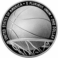 """США 1 доллар 2020 г., PROOF, """"Зал славы баскетбола"""""""