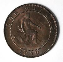 Испания 2 сентимо 1870 г., UNC, 'Временное правительство (1869-1874)'