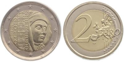 Сан-Марино 2 евро 2017 г., BU, '750 лет со дня рождения Джотто ди Бондоне'