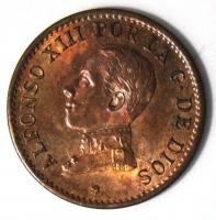 Испания 1 сентимо 1913 г., UNC, 'Король Альфонсо XIII (1886-1931)'