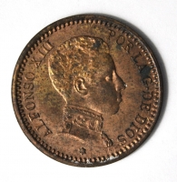 Испания 2 сентимо 1904 г., UNC, 'Король Альфонсо XIII (1886-1931)'