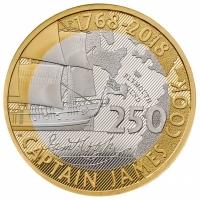 """Великобритания 2 фунта 2018 г., PROOF, """"250 лет кругосветному путешествию Джеймса Кука"""""""