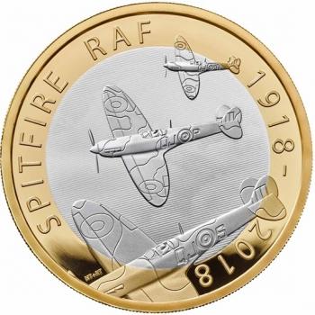 """Великобритания 2 фунта 2018 г., PROOF, """"100 лет Королевским ВВС  - Supermarine Spitfire"""""""